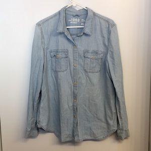 GAP 1969 Light Wash Cotton Denim Button Down XL